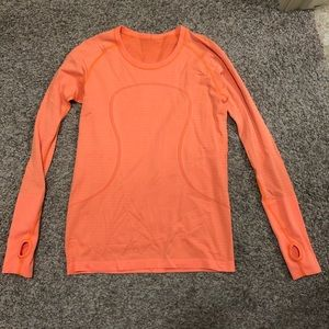 NWOT lululemon long sleeve coral shirt size 10